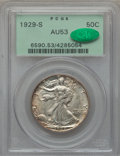 Walking Liberty Half Dollars: , 1929-S 50C AU53 PCGS. CAC. PCGS Population (19/819). NGC Census:(22/607). Mintage: 1,902,000. Numismedia Wsl. Price for pr...