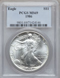 Modern Bullion Coins, 1986 - 2003 $1 Silver Eagles MS69 PCGS and a 2000 Millennium SilverEagle Set Single Coin MS69 PCGS.... (Total: 19 coins)