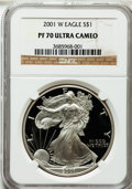 Modern Bullion Coins: , 2001-W $1 Silver Eagle PR70 Ultra Cameo NGC. NGC Census: (3504).PCGS Population (1015). Numismedia Wsl. Price for problem...