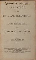 Books:Americana & American History, G. W. Kendall. Narrative of the Texan Santa Fe Expedition.Sherwood, Gilbert, et al., [n. d.]. Later British edition...