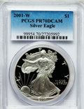 Modern Bullion Coins: , 2001-W $1 Silver Eagle PR70 Deep Cameo PCGS. PCGS Population(1015). NGC Census: (3504). Numismedia Wsl. Price for problem...