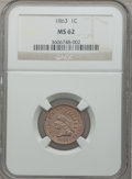 Indian Cents: , 1863 1C MS62 NGC. NGC Census: (322/1316). PCGS Population(400/1800). Mintage: 49,840,000. Numismedia Wsl. Price forproble...