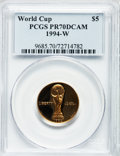 Modern Issues: , 1994-W G$5 World Cup Gold Five Dollar PR70 Deep Cameo PCGS. PCGSPopulation (107). NGC Census: (637). Mintage: 89,619. Numi...