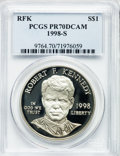 Modern Issues: , 1998-S $1 Robert F. Kennedy Silver Dollar PR70 Deep Cameo PCGS.PCGS Population (42). NGC Census: (62). Numismedia Wsl. Pr...