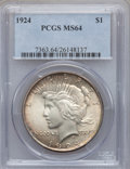 Peace Dollars: , 1924 $1 MS64 PCGS. PCGS Population (12499/3452). NGC Census:(18439/8786). Mintage: 11,811,000. Numismedia Wsl. Price for p...