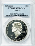 Modern Issues: , 1993-S $1 Jefferson Silver Dollar PR70 Deep Cameo PCGS. PCGSPopulation (66). NGC Census: (26). Mintage: 332,891. Numismedi...