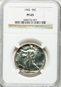 Proof Walking Liberty Half Dollars: , 1942 50C PR65 NGC. NGC Census: (934/2305). PCGS Population(1655/2370). Mintage: 21,120. Numismedia Wsl. Price for problem ...