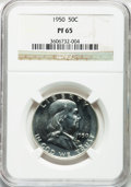 Proof Franklin Half Dollars: , 1950 50C PR65 NGC. NGC Census: (648/640). PCGS Population(1160/455). Mintage: 51,386. Numismedia Wsl. Price for problemfr...