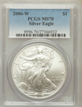 Modern Bullion Coins, 2006-W $1 Silver Eagle MS70 PCGS. PCGS Population (927). NGCCensus: (9749). Numismedia Wsl. Price for problem free NGC/PC...