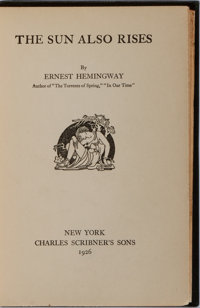 """Ernest Hemingway. The Sun Also Rises. Scribners, 1926. First edition, first printing with """"stop"""