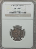Indian Cents: , 1864 1C L On Ribbon AU55 NGC. NGC Census: (70/394). PCGS Population(85/266). Mintage: 39,233,712. Numismedia Wsl. Price fo...