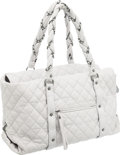 Luxury Accessories:Bags, Chanel White Quilted Lambskin Leather Luxury Ligne Large Tote Bag....
