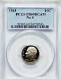 Proof Roosevelt Dimes: , 1983 10C No S PR69 Deep Cameo PCGS. PCGS Population (93/0). NGCCensus: (75/2). Numismedia Wsl. Price for problem free NGC...