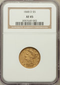 Liberty Half Eagles: , 1848-D $5 XF45 NGC. NGC Census: (23/69). PCGS Population (15/56).Mintage: 47,400. Numismedia Wsl. Price for problem free N...