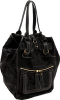 Luxury Accessories:Bags, Chloe Black Treated Leather Large Tote Bag. ...