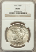 Peace Dollars: , 1926-S $1 MS65 NGC. NGC Census: (395/30). PCGS Population (612/68).Mintage: 6,980,000. Numismedia Wsl. Price for problem f...