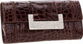Luxury Accessories:Bags, Judith Leiber Shiny Elephant Gray Alligator Clutch Bag withShoulder Strap & Jeweled Clasp. ...