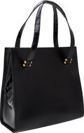 Luxury Accessories:Bags, Judith Leiber Black Leather & Crocodile Tote Bag. ...