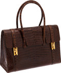 Luxury Accessories:Bags, Hermes 30cm Shiny Miel Porosus Crocodile Drag Bag with Gold Hardware. ...