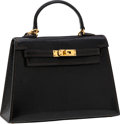 Luxury Accessories:Bags, Hermes 15cm Micro-Mini Black Lizard Micro-Mini Kelly Bag with GoldHardware. ...