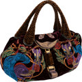 Luxury Accessories:Bags, Fendi Limited Edition Velvet, Crystal & Embroidered Squirrel Spy Bag. ...