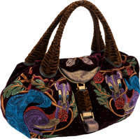 Fendi Limited Edition Velvet, Crystal & Embroidered Squirrel Spy Bag