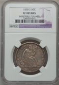 Seated Half Dollars: , 1858-S 50C -- Improperly Cleaned -- NGC Details. XF. NGC Census:(6/46). PCGS Population (20/60). Mintage: 476,000. Numisme...