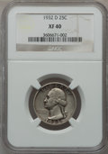 Washington Quarters: , 1932-D 25C XF40 NGC. NGC Census: (111/2042). PCGS Population(216/3455). Mintage: 436,800. Numismedia Wsl. Price for proble...