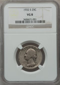 Washington Quarters: , 1932-S 25C VG8 NGC. NGC Census: (96/3662). PCGS Population(119/5437). Mintage: 408,000. Numismedia Wsl. Price for problem ...