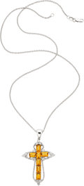 Estate Jewelry:Necklaces, Citrine, Diamond, White Gold Pendant-Necklace, Piranesi. ...
