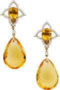 Estate Jewelry:Earrings, Citrine, Diamond, Gold Earrings, Piranesi. ...