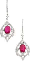 Estate Jewelry:Earrings, Ruby, Diamond, White Gold Earrings, Piranesi. ...