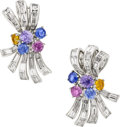 Estate Jewelry:Earrings, Sapphire, Diamond, Platinum, White Gold Earrings. ...