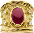 Estate Jewelry:Rings, Ruby, Diamond, Gold Ring, Elizabeth Gage. ...