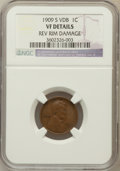 Lincoln Cents: , 1909-S VDB 1C -- Reverse Rim Damaged -- NGC Details. VF. NGCCensus: (322/3553). PCGS Population (641/6403). Mintage: 484,0...