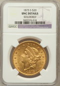 Liberty Double Eagles, 1875-S $20 -- Soodered -- NGC Details. UNC. NGC Census: (287/689).PCGS Population (176/414). Mintage: 1,230,000. N...