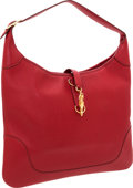 Luxury Accessories:Bags, Hermes 35cm Rouge Vif Buffalo Leather Trim Bag with Gold Hardware....