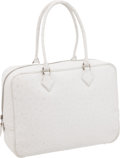 Luxury Accessories:Bags, Hermes 32cm White Ostrich Plume Bag with Palladium Hardware. ...