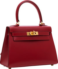 Hermes 20cm Rouge Vif Calf Box Leather Mini Kelly Bag with Gold Hardware