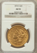 Liberty Double Eagles: , 1874-S $20 AU55 NGC. NGC Census: (463/1789). PCGS Population(237/710). Mintage: 1,214,000. Numismedia Wsl. Price for probl...