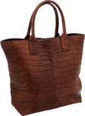 Luxury Accessories:Bags, Bottega Veneta Matte Brown Crocodile Large Tote Bag. ...