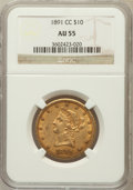 Liberty Eagles: , 1891-CC $10 AU55 NGC. NGC Census: (180/1924). PCGS Population(246/1395). Mintage: 103,732. Numismedia Wsl. Price for probl...
