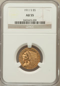 Indian Half Eagles: , 1911-S $5 AU55 NGC. NGC Census: (388/1764). PCGS Population(201/1149). Mintage: 1,416,000. Numismedia Wsl. Price for probl...