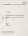Autographs:Celebrities, Frank Borman Typed Letter Signed Regarding Use of Apollo 8 forCommercial Purposes. ...