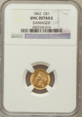 Gold Dollars, 1862 G$1 -- Damaged --NGC Details. UNC. NGC Census: (67/2438). PCGSPopulation (64/1671). Mintage: 1,361,390. Numismed...