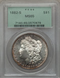 Morgan Dollars: , 1882-S $1 MS65 PCGS. PCGS Population (16651/5181). NGC Census:(17782/7920). Mintage: 9,250,000. Numismedia Wsl. Price for ...