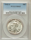 Walking Liberty Half Dollars: , 1942-S 50C MS63 PCGS. PCGS Population (1102/6051). NGC Census:(437/3463). Mintage: 12,708,000. Numismedia Wsl. Price for p...