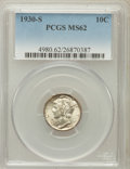 Mercury Dimes: , 1930-S 10C MS62 PCGS. PCGS Population (15/294). NGC Census:(11/149). Mintage: 1,843,000. Numismedia Wsl. Price for problem...