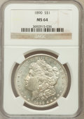Morgan Dollars: , 1890 $1 MS64 NGC. NGC Census: (4058/303). PCGS Population(3515/425). Mintage: 16,802,590. Numismedia Wsl. Price forproble...