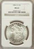 Morgan Dollars: , 1884-CC $1 MS63 NGC. NGC Census: (5640/12797). PCGS Population(11309/23758). Mintage: 1,136,000. Numismedia Wsl. Price for...
